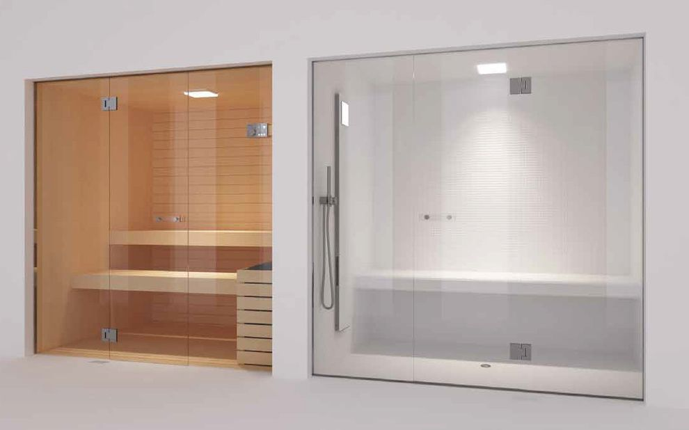 Steam Room Vs Sauna With Contemporary Home Gym Also Frameless Glass Doors Hamman Spa Wellness Shower Bench And