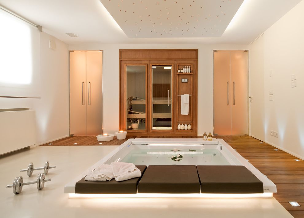 Steam Room vs Sauna with Contemporary Home Gym  and Cove Lighting Dumbells Frosted Glass Doors Jacuzzi Sauna