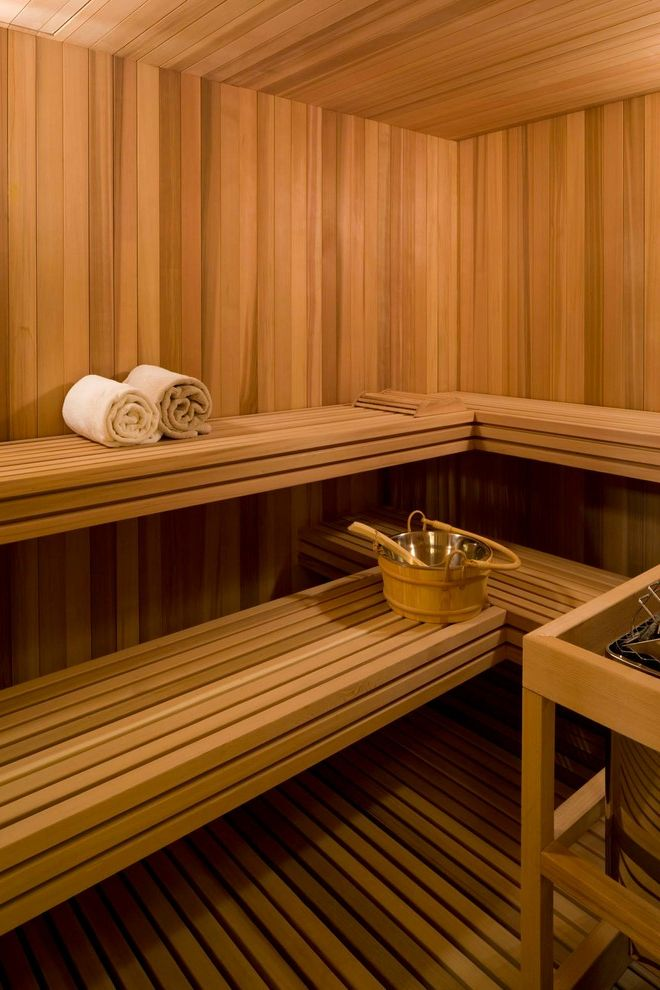 Steam Room vs Sauna with Transitional Bathroom Also Bench Seat Buckey Cedar Sauna Steam Towels Wood Paneling Wood Slat