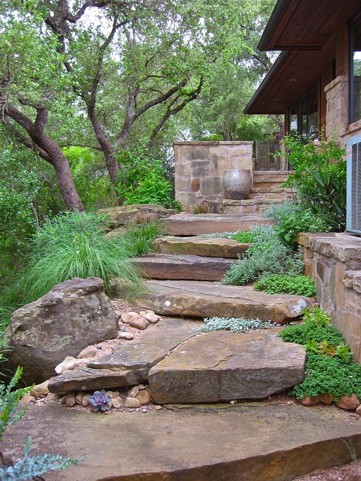 Stepping Stone Round Rock   Contemporary Landscape Also Boulders Grasses Ground Cover Path Pavers Side Yard Stone Steps Succulents Walkway