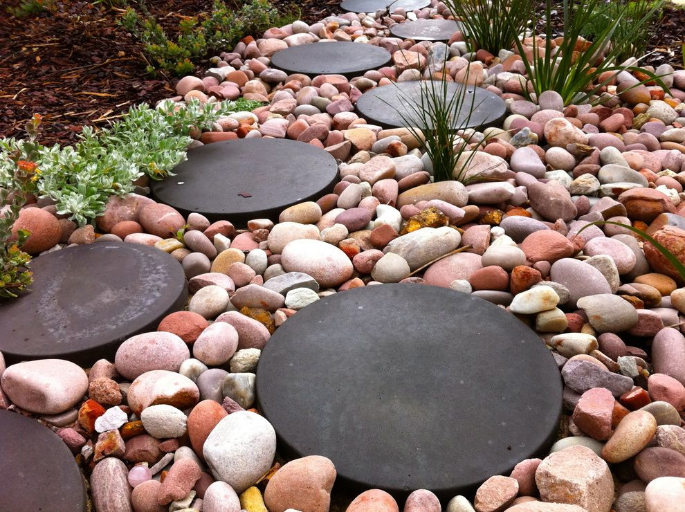 Stepping Stone Round Rock   Eclectic Landscape  and Eclectic