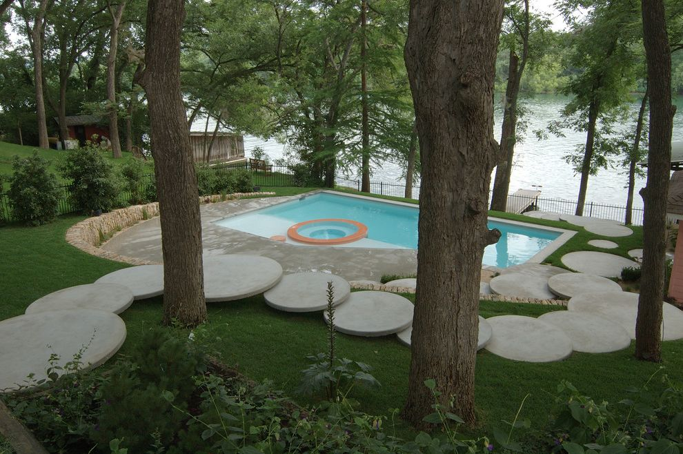Stepping Stone Round Rock   Eclectic Pool  and Backyard Circles Dock Patio Pool Retaining Wall Round Stepping Stones Round Wall Stone Wall Water View