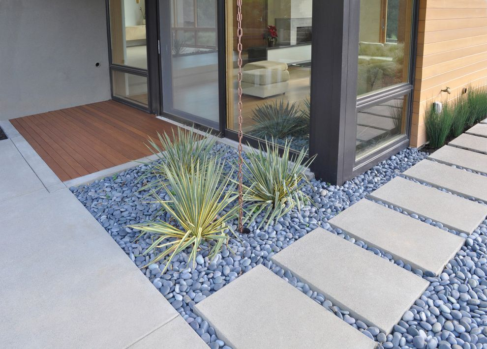 Stepping Stone Round Rock   Modern Landscape  and Concrete Paving Glass Doors Path Pavers Permeable Paving Rain Chain River Pebbles Rock Garden Sliding Doors Steps Walkway Wood Siding