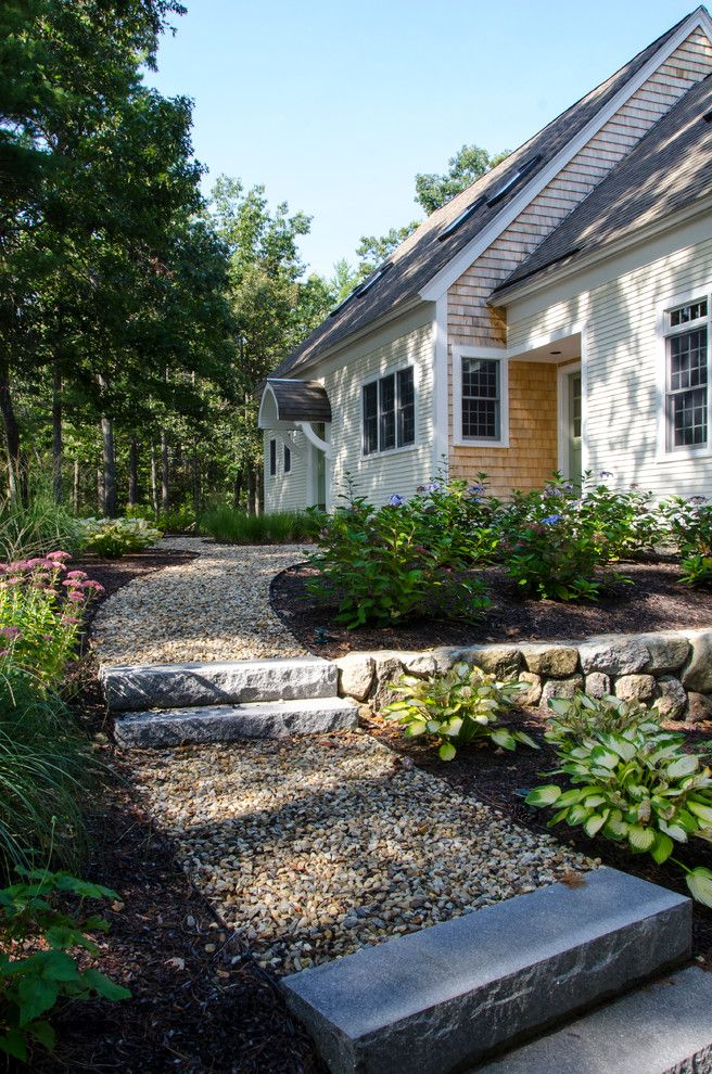 Stepping Stone Round Rock   Traditional Landscape Also Entry Exterior Flowers Gable Roof Path Planting Shingle Siding Skylights Steps Stone Wall Walkway