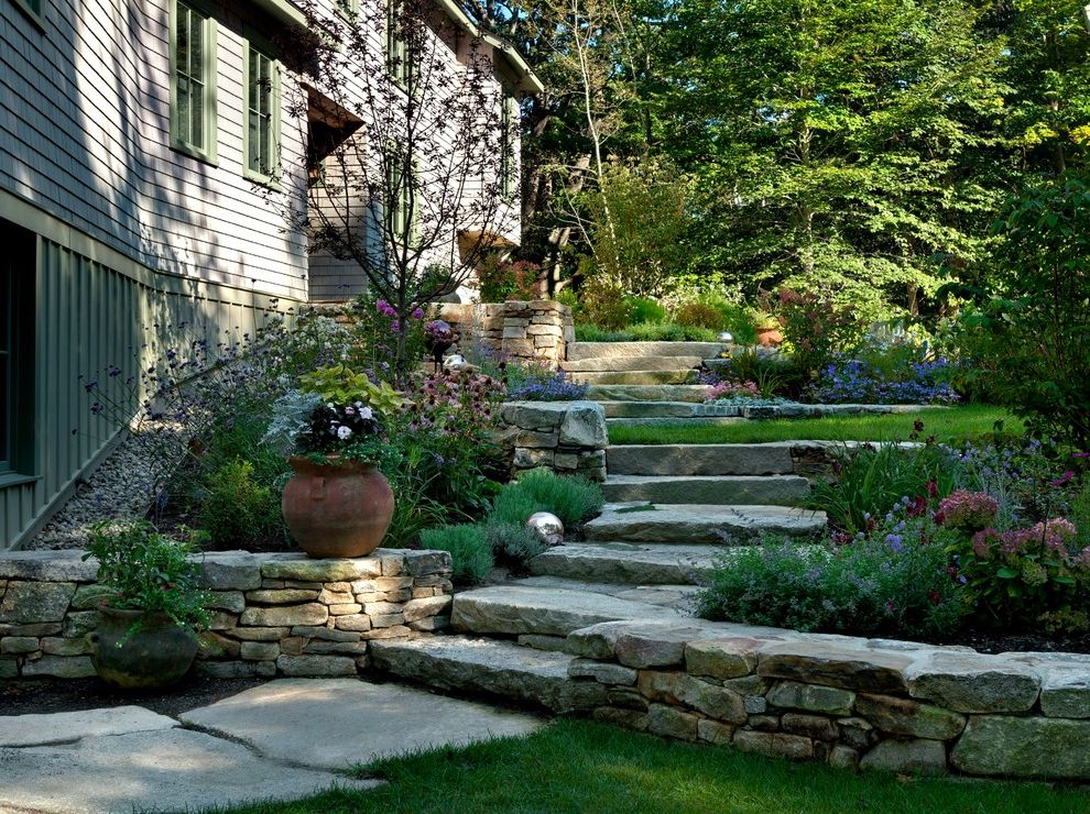 Stepping Stone Round Rock with Beach Style Landscape Also Board and Batten Siding Entryway Flower Beds Garden Green Window Casing Landscaped Path Large Stones Lawn Maine Oceanfront Potted Plant Shingle Shingle Siding Steps Stone Slab Woods