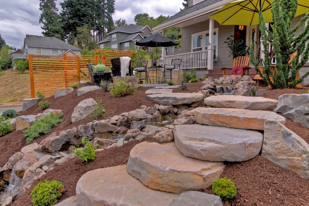 Stepping Stone Round Rock with Traditional Landscape Also Adirondack Chairs Boulders Fountain Front Yard Hillside Mulch Patio Furniture Patio Umbrella Rocks Water Feature
