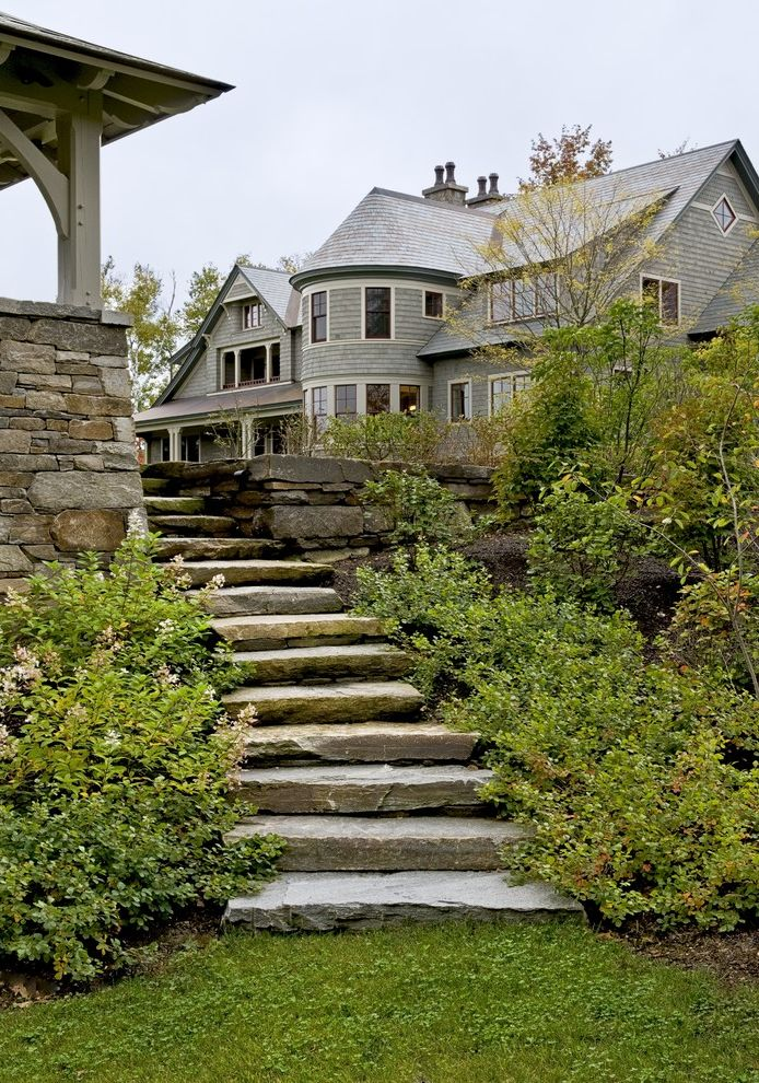 Stepping Stone Round Rock with Victorian Landscape  and Grass Hedge Lawn Path Pavers Rustic Stacked Stone Staircase Stairs Steps Stone Paving Stone Walls Turf Walkway