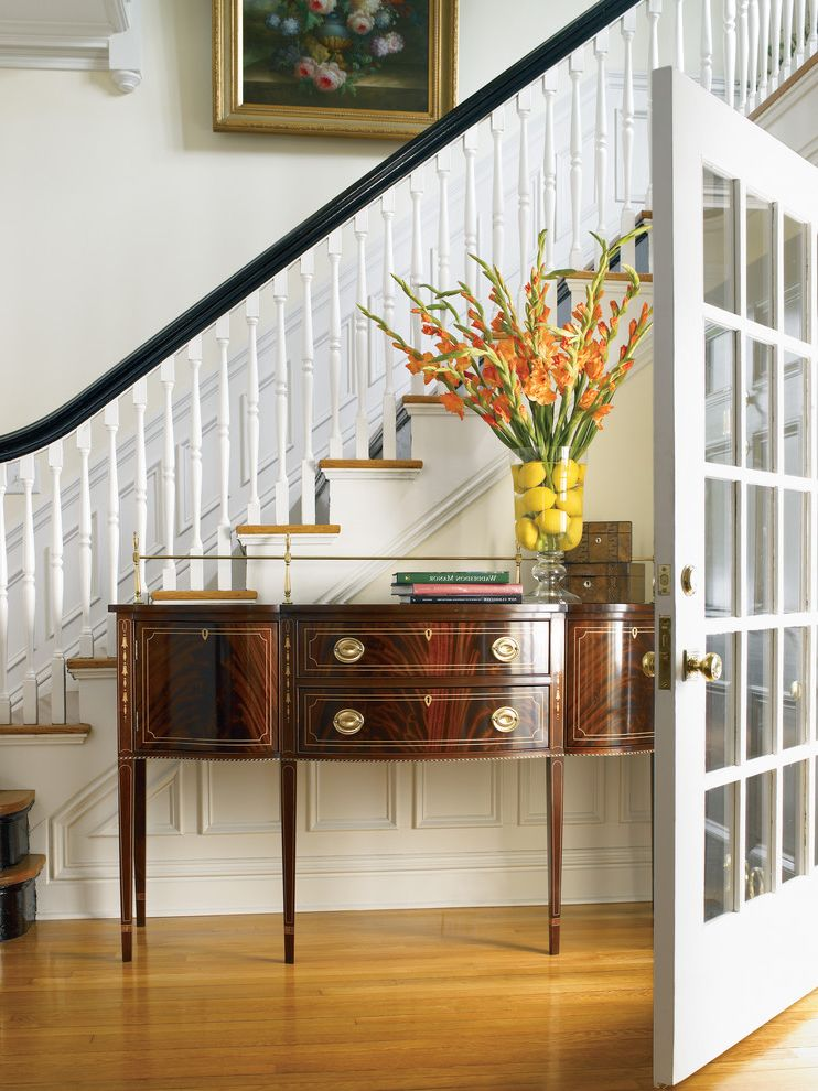Stickley Furniture Prices   Traditional Entry  and Antique Furniture Black Banister Closed Staircase Hepplewhite Console Millwork Open Stringer Stickley Tapered Legs Turned Balusters Wainscoting White Balusters White Balustrade