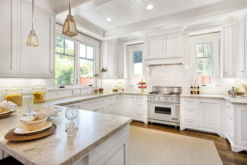 Stokes Lighting with Traditional Kitchen Also Area Rug Kitchen Peninsula Paneled Ceiling Place Settings Recessed Lighting Small Pendant Lighting Under Cabinet Lighting White Kitchen Windows Wood Floors