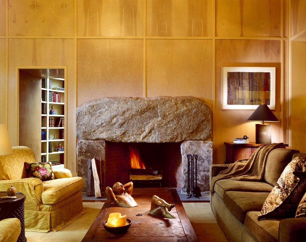 Stone Slabs for Sale   Eclectic Family Room  and Boulder Earth Tone Colors Fireplace Accessories Stone Fireplace Surround Warm Wood Paneling