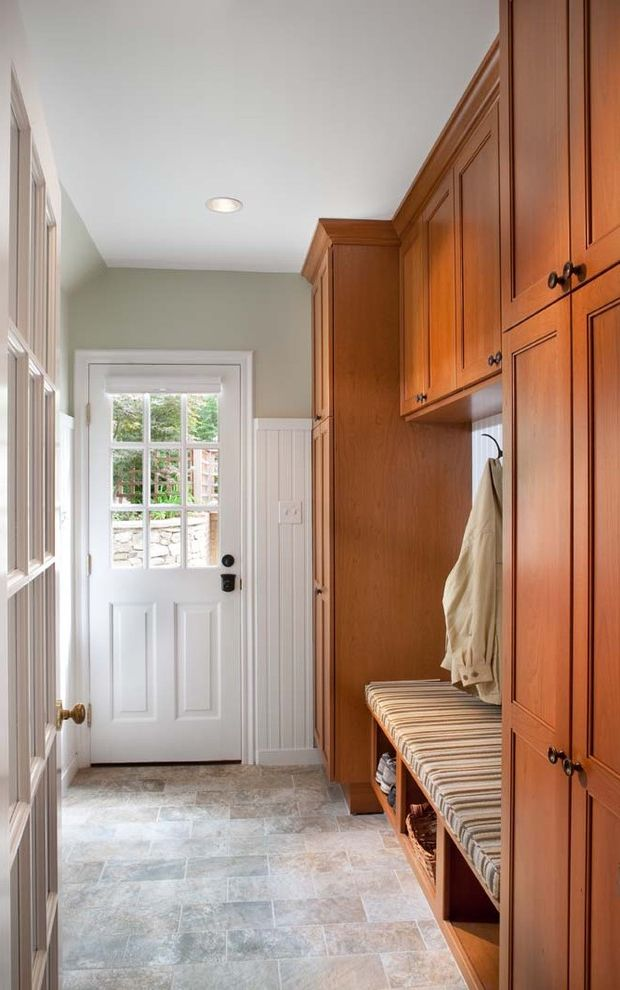 Storage Columbia Md   Traditional Entry  and Bench Seat Frame and Panel Wood Work French Door Raised Panel Door Tile Floor Wainscot White Painted Wood Wood Cabinets