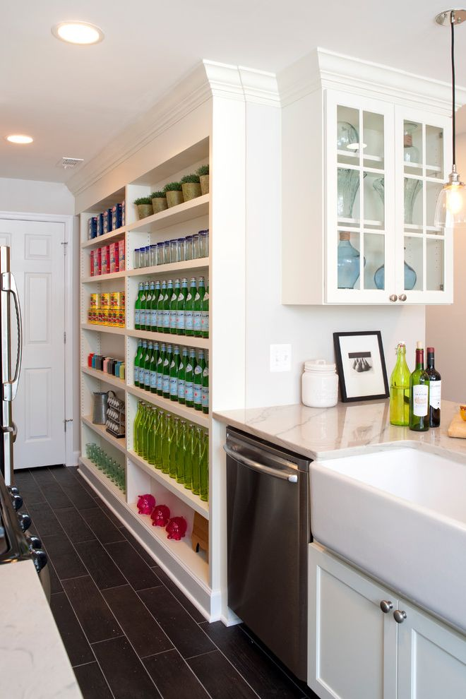 Storage Columbia Md   Transitional Kitchen  and Apron Front Sink Farmhouse Kitchen Farmhouse Sink Flooring Glass Front Cabinet Kitchen Open Shelving Organized Pantry Pelligrino Porcelain Tile Floor Recessed Lighting Storage Transitional Wood Tile Floor