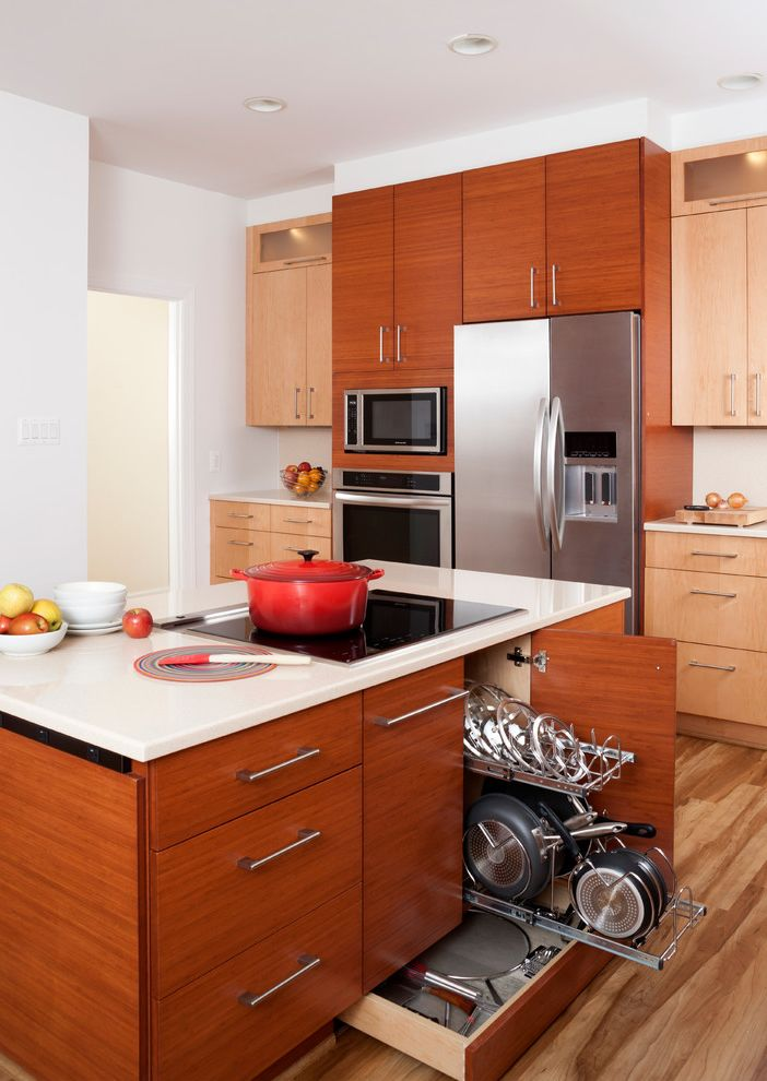 Storage Columbia Md with Contemporary Kitchen  and Flat Panel Cabinets Kitchen Island Cooktop Kitchen Storage Medium Wood Cabinets Red Accents Red Dutch Oven Wire Fruit Bowl Wood Board Wood Floors