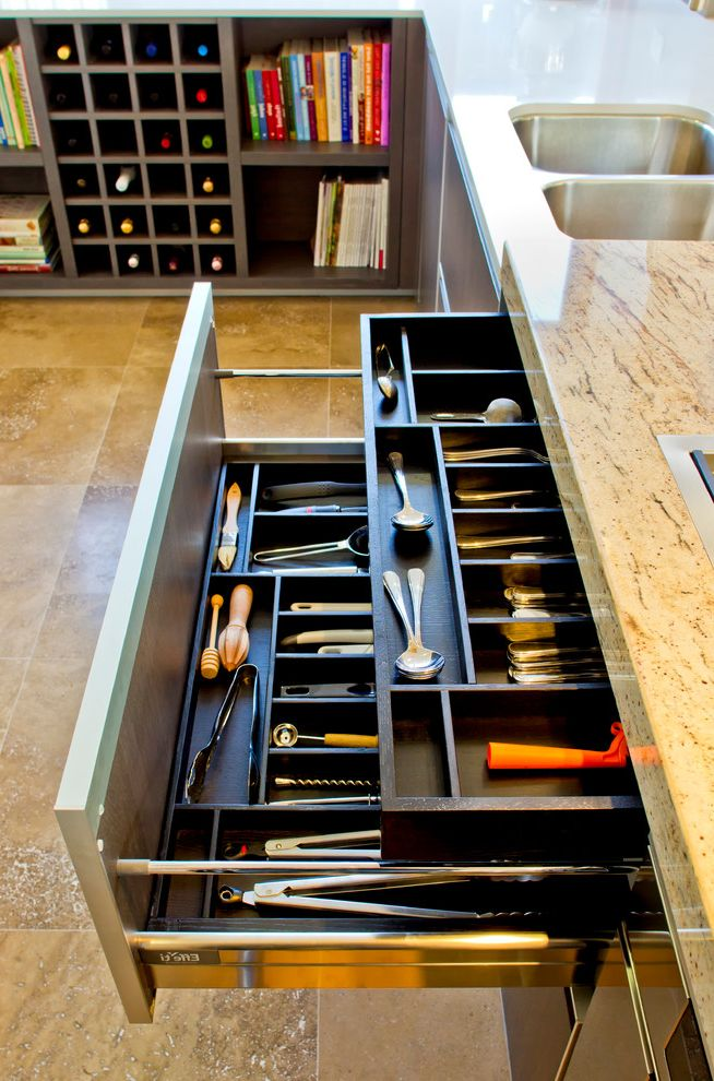 Storage Columbia Md with Contemporary Spaces  and Beige Countertop Dividers Kitchen Organization Kitchen Storage Organized Utensil Drawer Silverware Drawer Stone Floor Utensil Divider Utensil Drawer Utensil Drawer Dividers Utensil Storage Utensil Trays