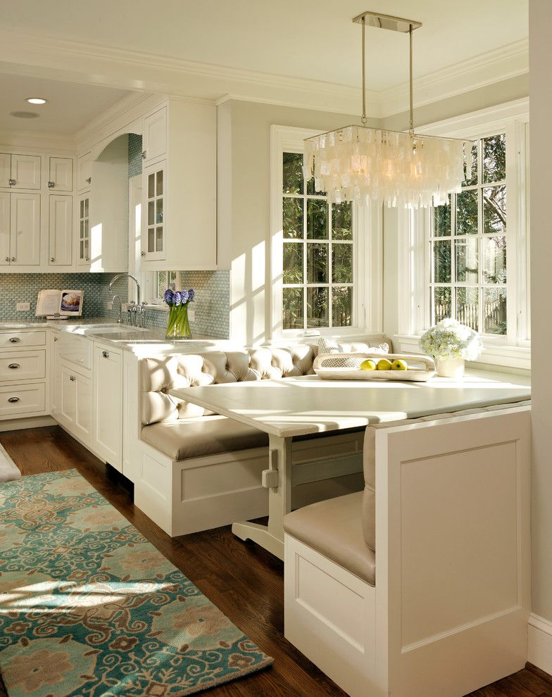 Stores Like West Elm   Traditional Kitchen  and Built in Banquette Cup Pulls Tufted Bench