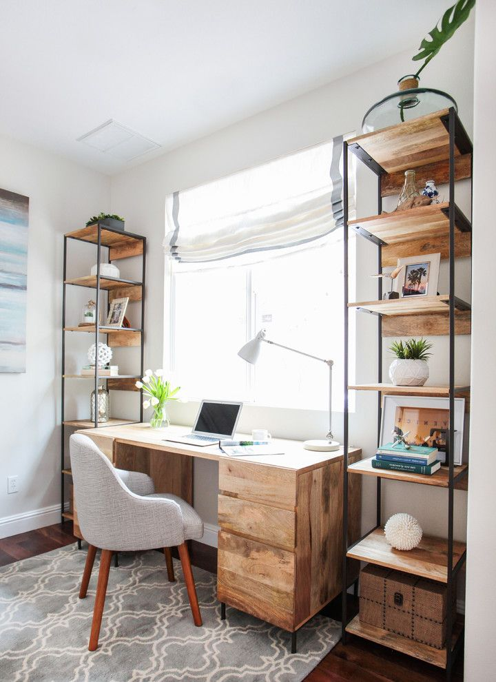 Stores Like West Elm with Beach Style Home Office  and Arabesque Rug Gray Area Rug Gray Desk Chair Striped Roman Shade Wood Bookshelf