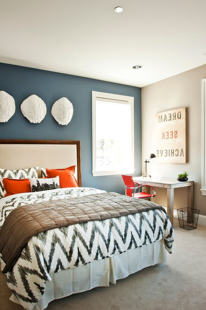 Stores Like West Elm with Contemporary Bedroom  and Blue Accent Wall Carpet Chevron Print Ikat Comforter Wall Reliefs White Trim