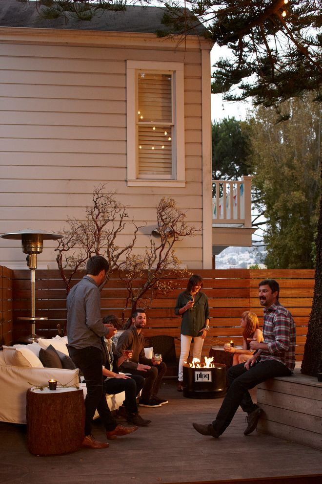 Straightforward Fence with Contemporary Deck  and Bench Deck Fire Pit Horizontal Fence Sofa Wood Deck Wood Fence