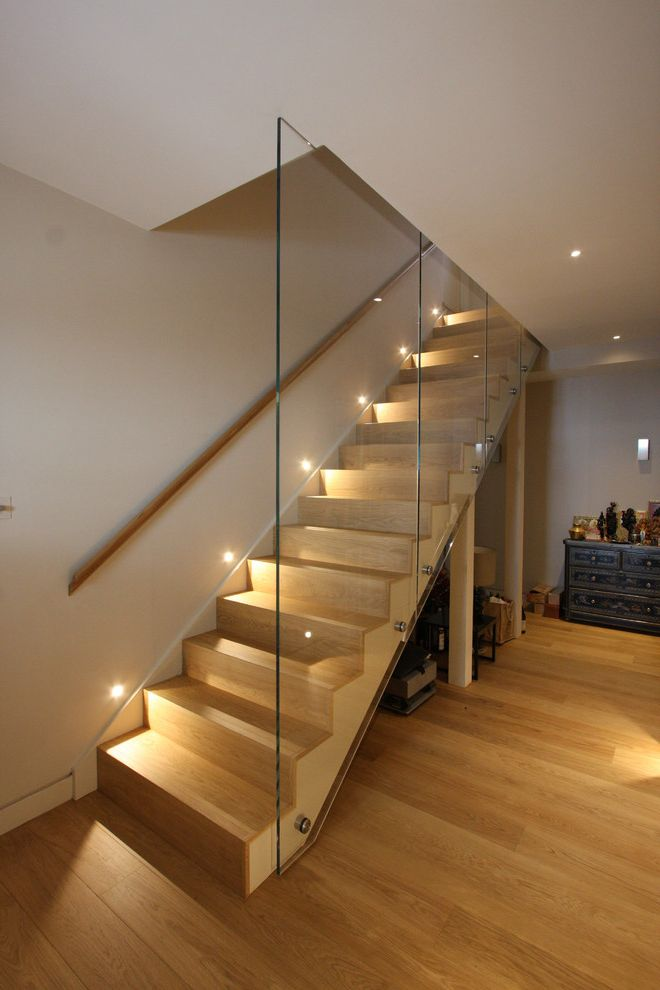 Straightforward Fence with Contemporary Staircase  and Balustrade Basement Contemporary Staircase Glass Balustrade Glass Panel Railing Lightwell Recessed Lights Wooden Hand Rail Wooden Stairs