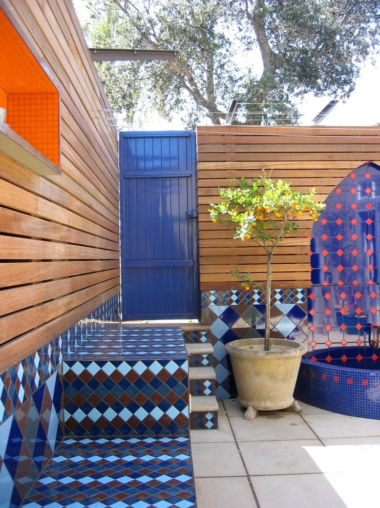 Straightforward Fence with Modern Patio  and Blue Citrus Tree Concrete Pavers Mosaic Tile Potted Plant Red Steps High Gloss Water Feature Wood Slat