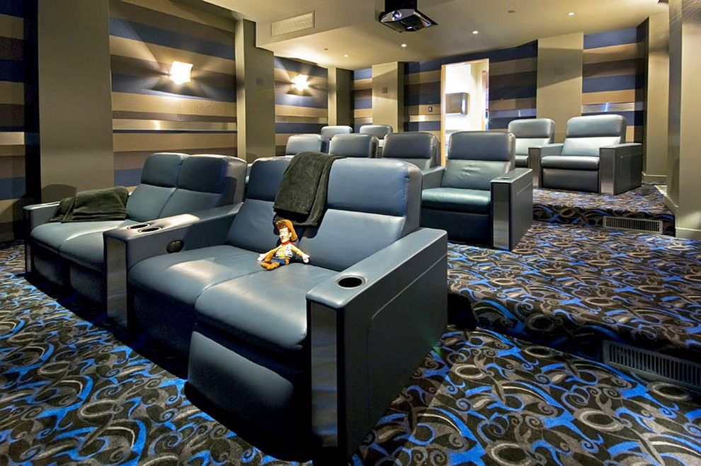 Stressless Recliner Sale with Contemporary Home Theater Also Blue Blue Leather Graphic Pattern Carpet Home Theater Leather Armchairs Recessed Ceiling Lighting Recliner Chairs Striped Walls Wall Sconces