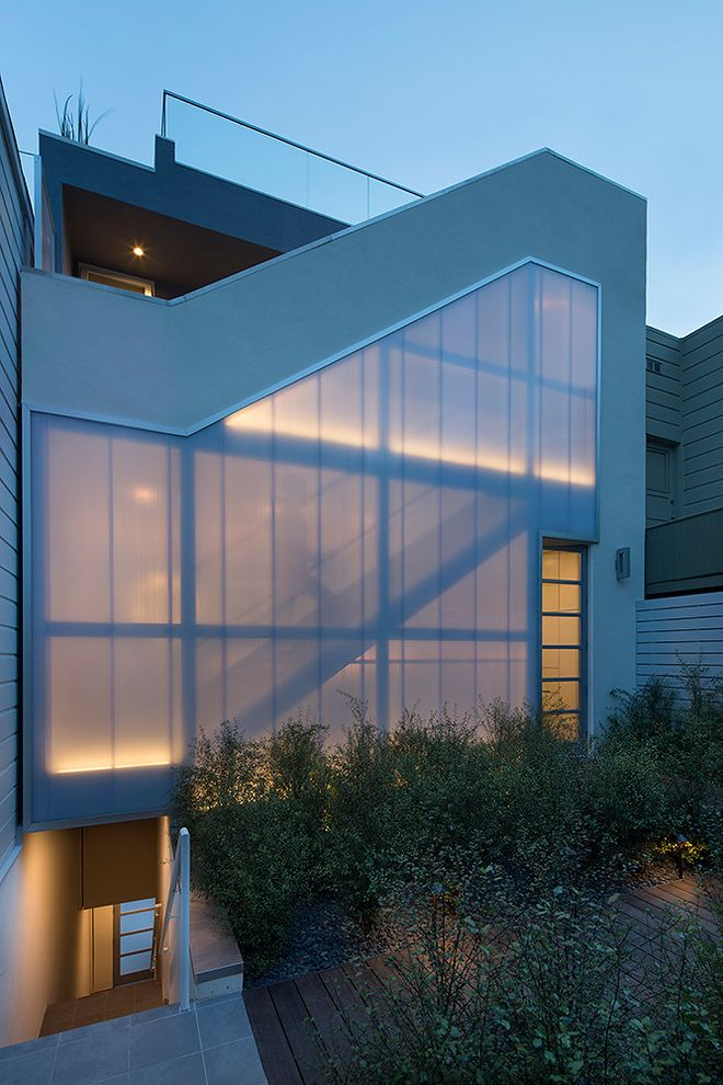 Structural Engineer San Francisco   Contemporary Exterior  and Deck Glass Railing Multiple Staircases Outdoor Staircase Polycarbonate Panels Roof Deck Transluscent