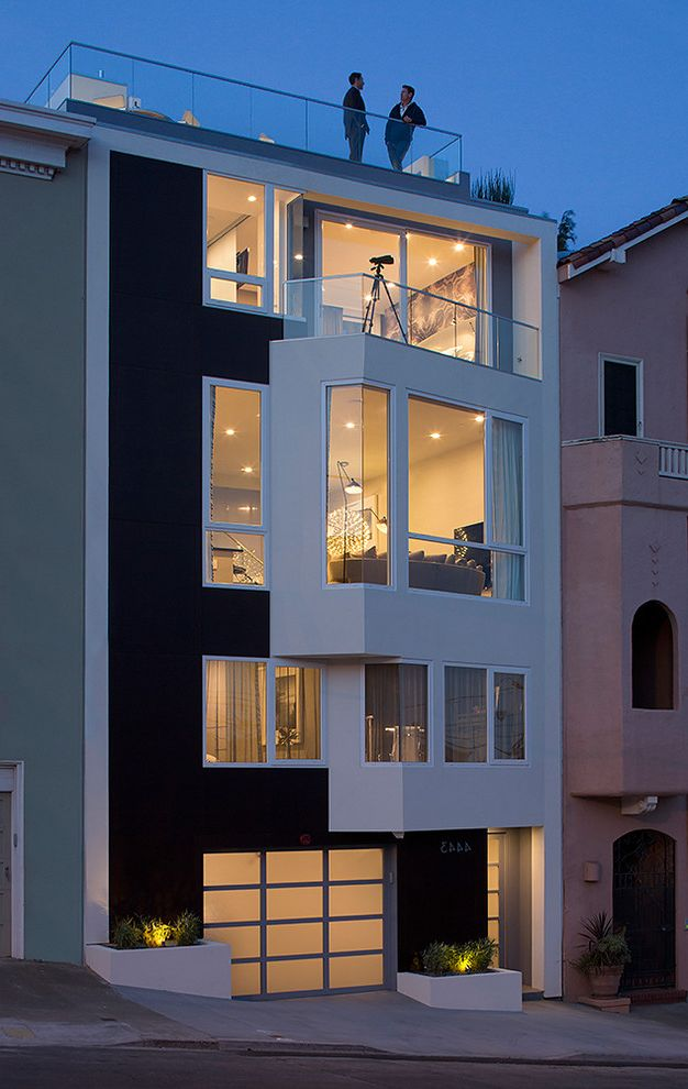 Structural Engineer San Francisco with Contemporary Exterior  and 2 Toned Front Siding Angled Punch Out Balcony Exterior Extensions Frosted Glass Garage Door Garage Leed Platinum Roof Top Terrace