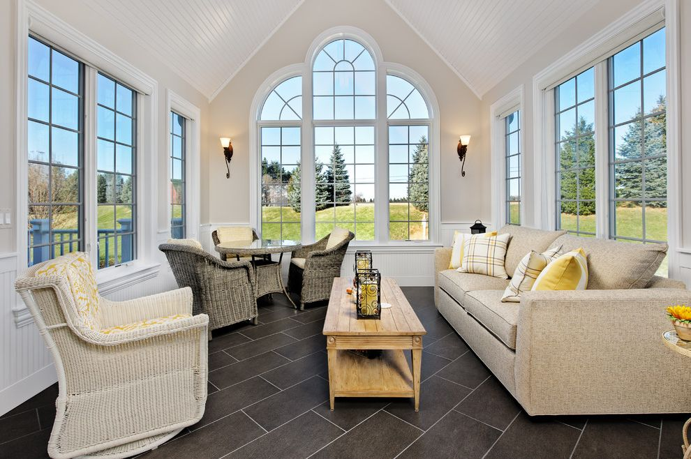 Sun Touch Heated Floor With Traditional Sunroom And Arched Windows Beige  Sofa Black Floor Tile Cathedral
