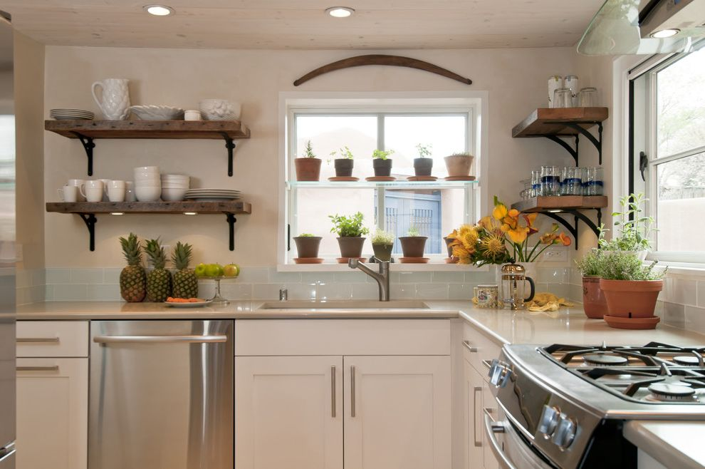 Sunny Designs Santa Fe Collection   Traditional Kitchen  and a Santa Fe Kitchen Design with Frame and Hood New Mexico Open Shaving Potted Plants Recessed Lights Rustic Wood Santa Fe Stainless Steel Appliances Tile Back Splash White Painted Cabinets