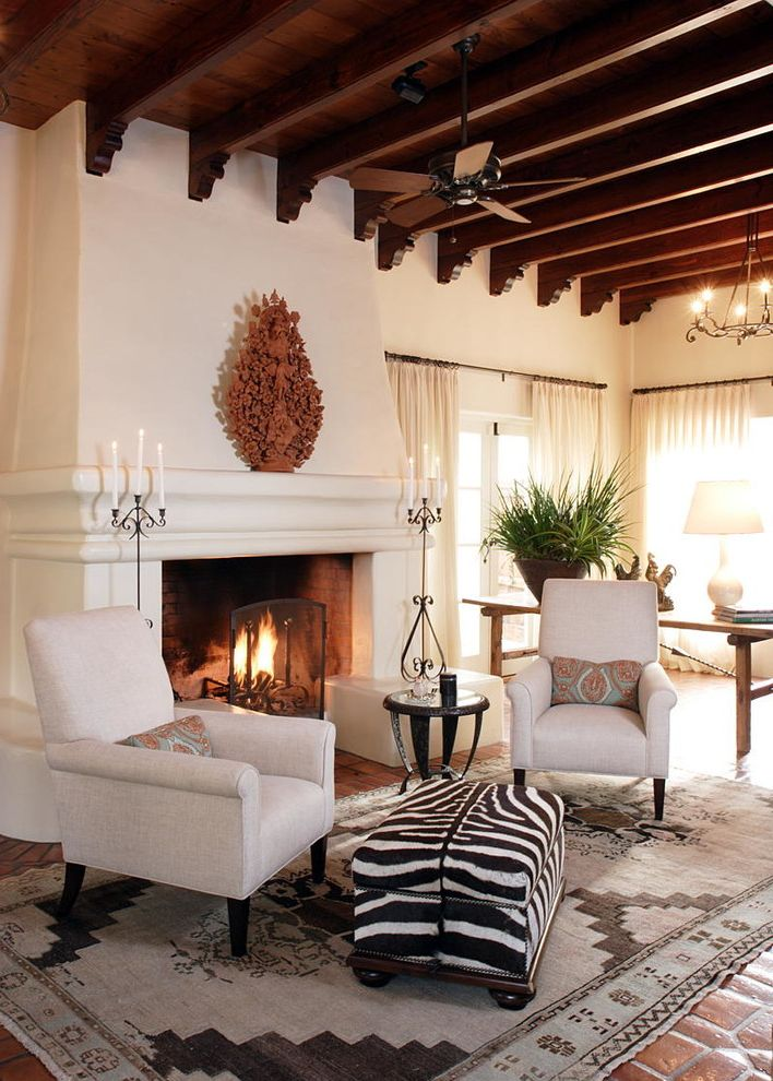 Sunny Designs Santa Fe Collection with Mediterranean Living Room  and Candelabras Early California Style Hacienda Oversize Fireplace Zebra Print Ottoman