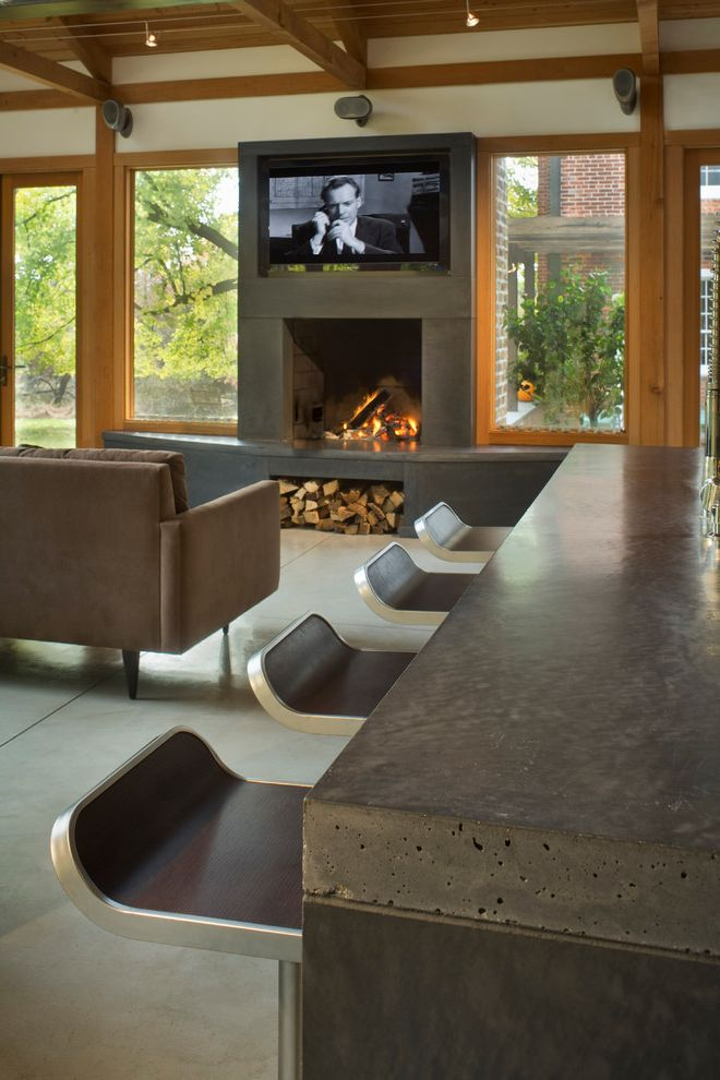 Superior Concrete Products   Contemporary Living Room Also Bar Stool Concrete Concrete Countertop Concrete Fireplace Concrete Floor Fireplace Kitchen Island Open Plan Sofa Timber Track Light Wood Wood Beam