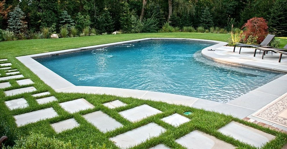 Contemporary Free Form Pool With Large Walk In Steps & Bench $style In $location