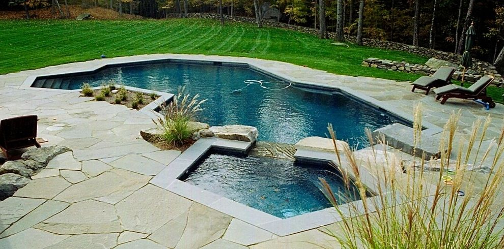 Surfside Pools   Transitional Pool Also Free Form Pool Spa Waterfall Feature