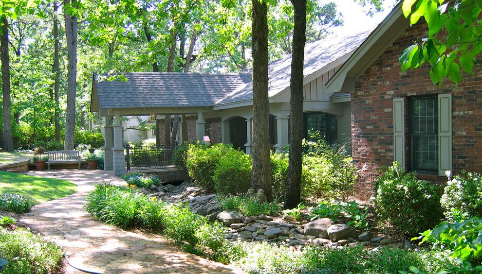 Swedish Mill Creek with Traditional Landscape  and Brick Wall Entrance Entry Garden Bench Grass Grove Lawn Path Stone Turf Walkway Window Shutters Window Treatments