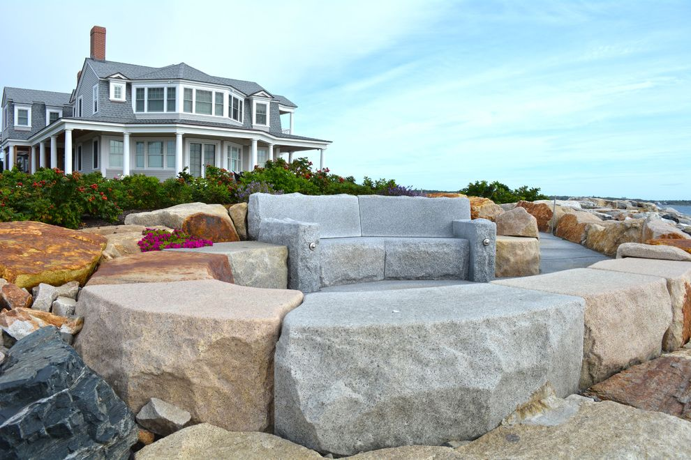 Swenson Granite Works    Exterior  and Beach House Couches Fire Pit Granite Ocean View Oceanfront Pavers Reclaimed Granite Woodbury Gray