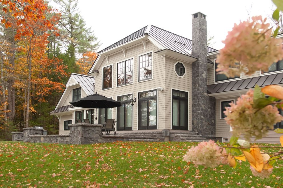 Swenson Granite Works with  Exterior  and Caledonia Corinthian Granite Granite Lake Home Lake House Patio Pavers Siding Stone Veneer Steps Thermal Top