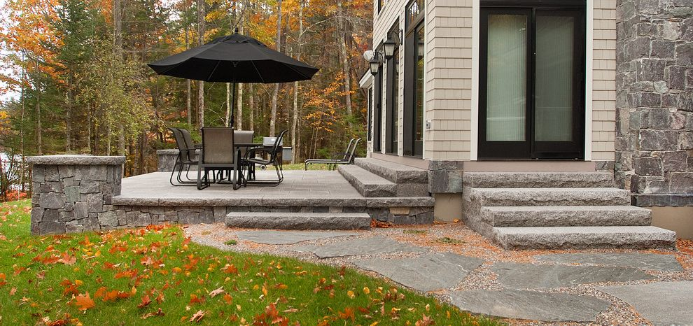 Swenson Granite Works with  Patio  and Flagging Granite Lake Home Lake House Lake View Patio Patio Seating Pavers Stepping Stones