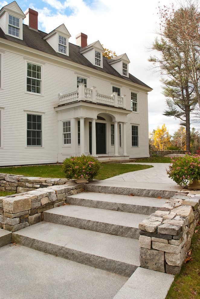 Swenson Granite Works with Traditional Exterior  and Balcony Dormer Window Grass Lawn Stone Steps