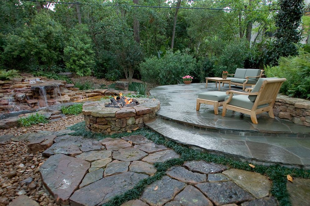 Swimming Pools Greensboro Nc   Tropical Patio  and Fire Pit Flagstone Patio Moss Stone Patio Outdoor Cushions Patio Furniture Planted Joints Planting Between Pavers Small Swimming Pool Stacked Stone Wall Waterfall