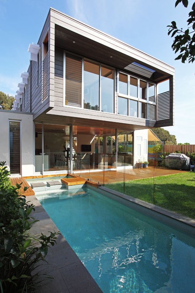 Swimming Pools Greensboro Nc with Contemporary Exterior  and Cantilevered Deck Glass Panel Railing Law Light Modern Patio Planting Pool Pool Deck Sculptural