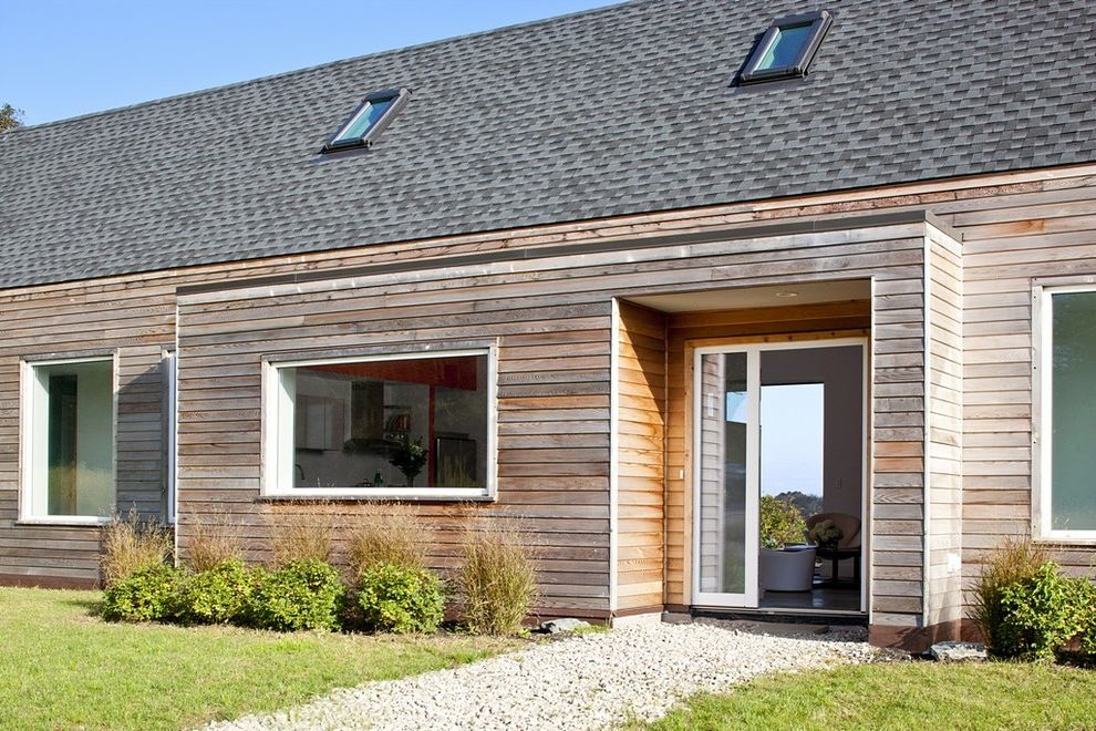 T1 11 Cedar Siding   Farmhouse Entry  and Cedar House Eco Friendly Entry Entryway Front Door Green Home Large Window Passive House Picture Window Shingles Side Lite Siding Skylight