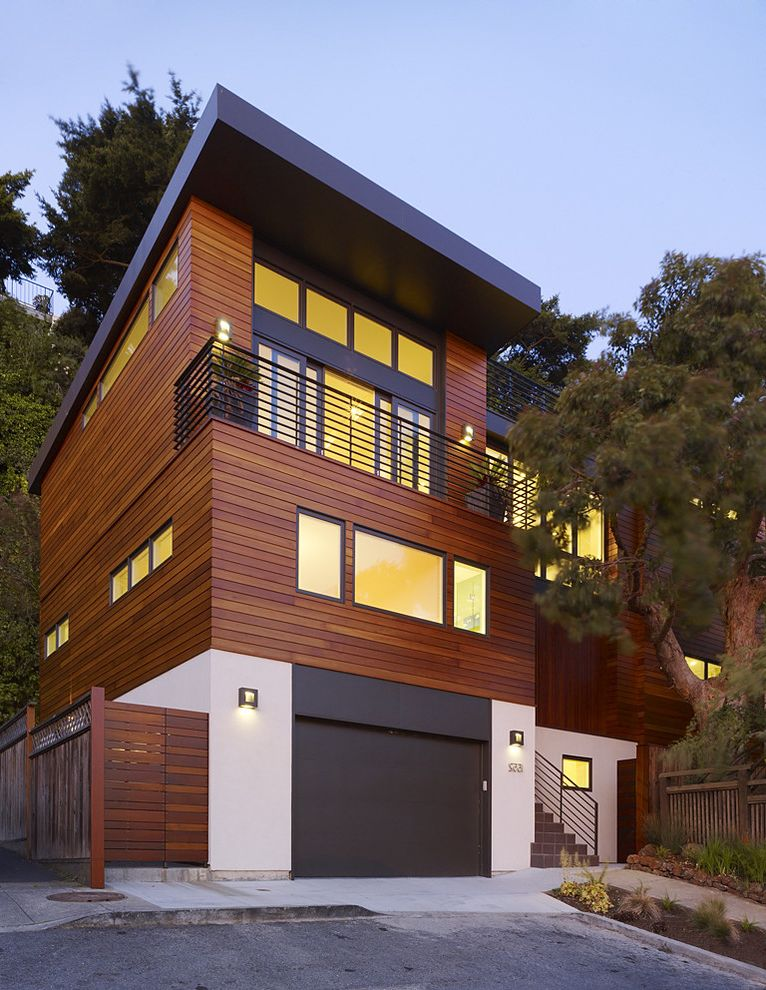 T1 11 Cedar Siding with Contemporary Exterior  and Balcony Driveway Entrance Entry Facade Garage Garage Door Horizontal Slat House Numbers Minimal Outdoor Lighting Overhang Reclaimed Cedar Siding Roof Line Wood Fencing Wood Siding