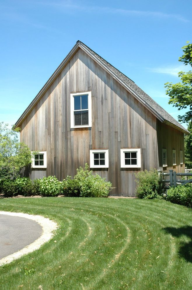 T1 11 Cedar Siding with Farmhouse Shed  and a Frame Barn Exterior Barn Siding Barnwood Bushes Country Grass Lawn Rustic Rustic Wood Exterior Rustic Wood Siding Shrubs White Window Trim Wood Fence