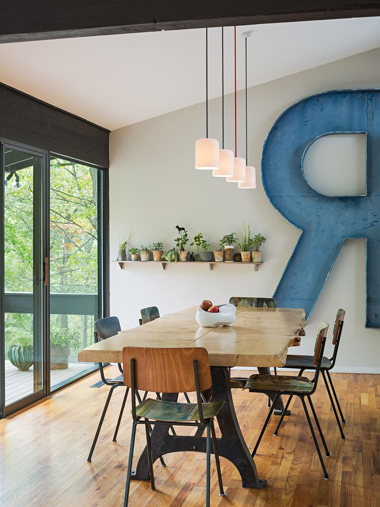 Table With Shelf Underneath Midcentury Dining Room Also Lights Live Edge Painted Chairs Porcelain Pendant Swarm Wall