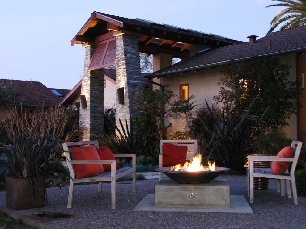 Tabletop Fire Bowl   Contemporary Landscape  and Container Plants Decorative Pillows Exposed Beams Fire Bowl Outdoor Cushions Outdoor Fire Pit Outdoor Lighting Patio Furniture Potted Plants Stacked Stone Stone Columns Throw Pillows