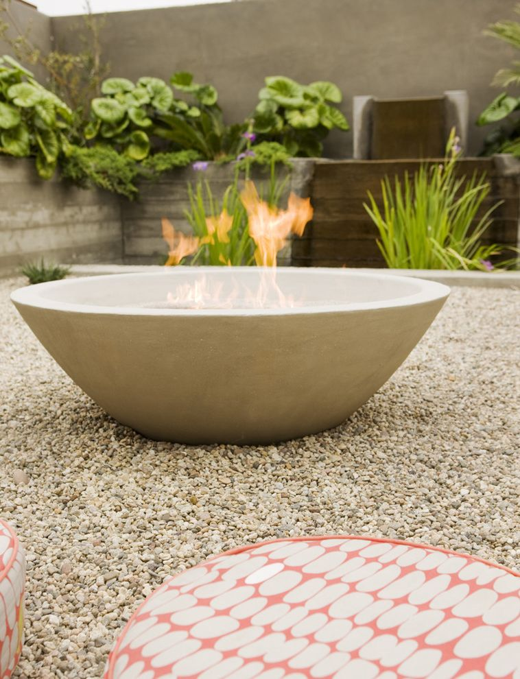 Tabletop Fire Bowl   Midcentury Landscape  and Courtyard Firebowl Floor Cushions Fountain Gravel Koi Pond Minimal Outdoor Cushions Outdoor Fire Pit Water Feature Zen