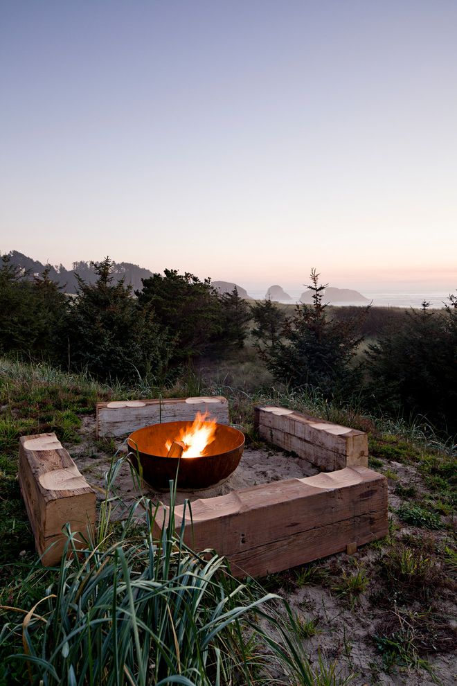 Tabletop Fire Bowl with Beach Style Patio Also Beach House Butt Benches Coast Evergreen Fire Pit Haystack Modern Sublime Water View Wood Bench