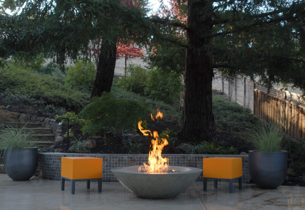 Tabletop Fire Bowl with Contemporary Patio Also Chiminea Concrete Elements Fire Fire Bowl Fire Pit Landscaping Marble Mosaic Patio Stools Urns