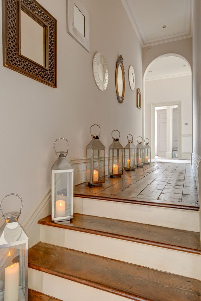 Tall Candle Pillars   Shabby Chic Style Hall Also Hallway Hallways Hurricane Lanterns Landing Open Plan Remodelled Rennovated Victorian Victorian Decorating Ideas