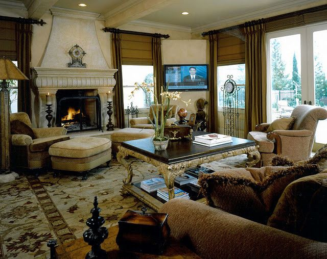 Tall Candle Pillars with Mediterranean Family Room  and Mediterranean